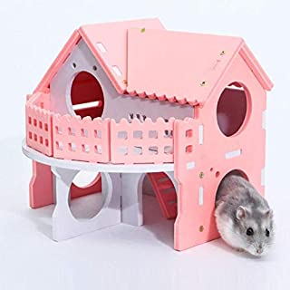 Cages - Small Pet Sleeping House Wooden Hamster Net Ecological Double Deck Ladder Villa Colorful Guinea Pig - Graphic Indoor Toys To Boots Dvd Oiseaux Trap Ceiling Pearls