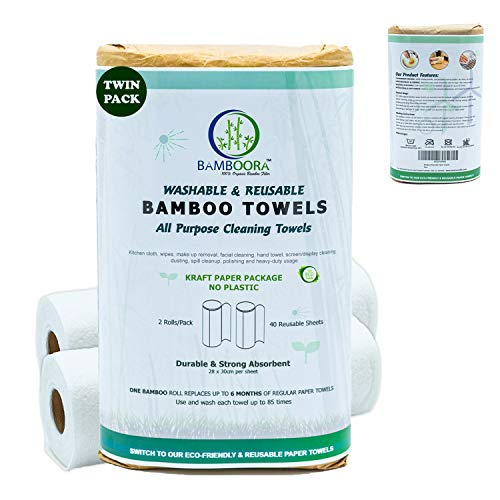 Bamboora Pack of 2 Reusable Bamboo Paper Towels - Lint free, Zero Waste, Recyclable, Eco Friendly Paper Towels, 2x 40 Organic Washable Rolls