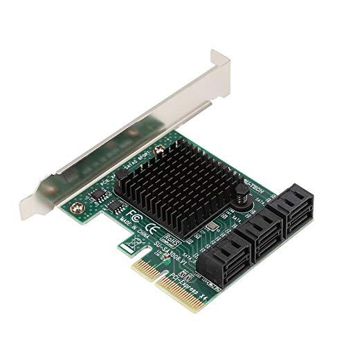 ASHATA SATA3.0-uitbreidingskaart, desktop PCI-E 4X naar SATA3.0 interface-uitbreidingskaart Adapter-extender voor Linux NAS, uitbreidingskaart ondersteunt harde schijven met grote capaciteit.