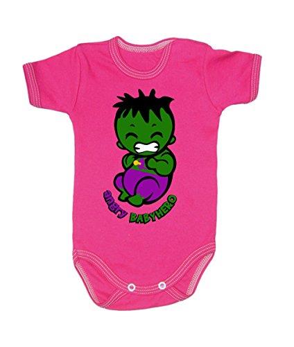 Couleur Mode bébé Hulk bodies à manches courtes 100% coton Petit bébé – 24 mois – 0009 rose 0-3 months, 62 cm