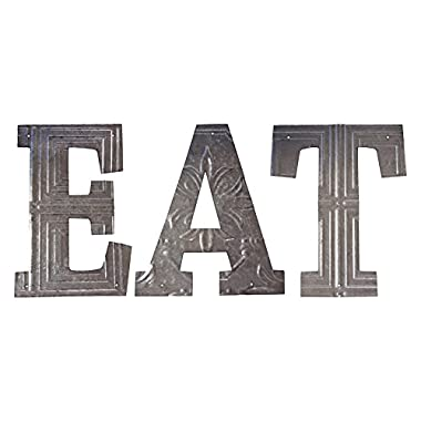 Vintage Galvanized Metal  Eat  Lettets Wall Sign - Cut Out Pressed Metal