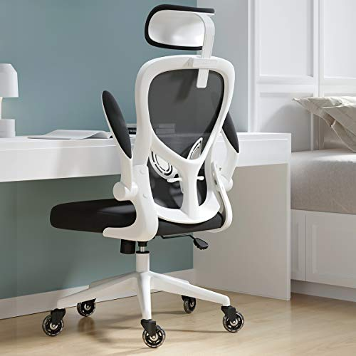 Hbada Office Chair, Home Ergonomic Desk Chairs with Flip-up Arms - Lumbar Support - Headrest, White