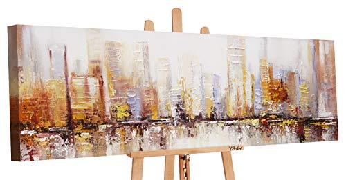 YS-Art Premium | Cuadro Pintado a Mano Mañana en la metrópolis | Cuadro Moderno acrilico | 150x50 cm | Lienzo Pintado a Mano | Cuadros Dormitories | único | Marrón | PS034