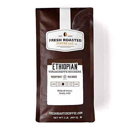 Fresh Roasted Coffee, Ethiopian Yirgacheffe Kochere, Medium Roast, Kosher, Whole Bean, 32 Ounce