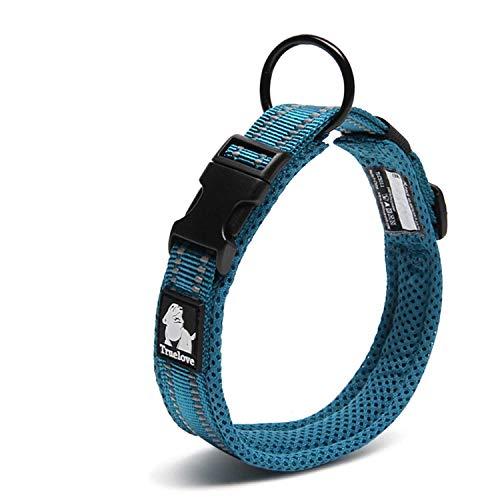 Vivi Bär Hundehalsband gepolstert 3 m Nachtsicht reflektierende atmungsaktive Mesh weich verstellbare Halsband für kleine / mittlere / große Hunde, einfache Schnalle