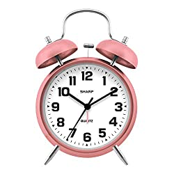 Sharp Twin Bell Alarm Clock - Loud Alarm - Great for Heavy Sleepers - Battery Operated Quartz Analog Clock - Rose