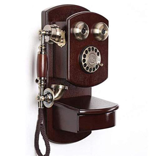 DFBGL Marrón Retro Montado en la Pared Línea de Botones Teléfono Fijo Calidad de Sonido Clara Teléfono con dial Giratorio Antiguo, B