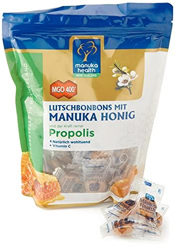 Manuka Health - MGO 400 + Lutschbonbons mit Propolis 250 g - 100% Pur aus Neuseeland mit zertifiziertem Methylglyoxal Gehalt und Vitamin C Bonbons