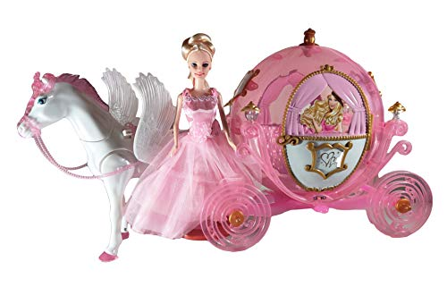 """Chezza! Princess Royal Carriage and Horse Toy Playset (Great for Barbie) - Includes 11"""" Princess Doll and Royal Horse."""