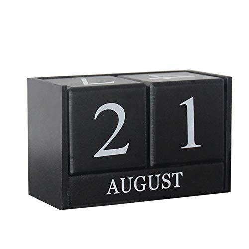 Calendario Perpetuo in Legno Calendario Planner a Blocchi Ornamento da Tavolo Regalo Decorazione per Casa Ufficio Nero 15.5 * 7.2 * 9.8cm