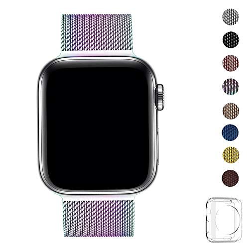 WFEAGL コンパチブル apple watch バンド, コンパチブルiWatch通用ベルト apple watch series 5/4/3/2/1に対応 交換ベルトステンレス製(38mm 40mm, カラフル)