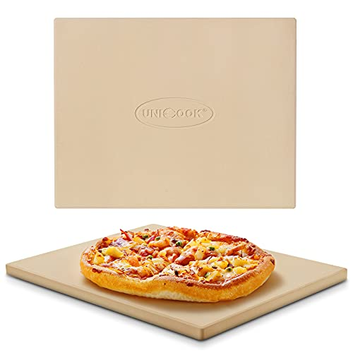Unicook Heavy Duty Cordierite Pizza Stone, Baking Stone for Bread, Pizza Pan for Oven and Grill, Thermal Shock Resistant, 15 x 12 Inch Rectangular,...