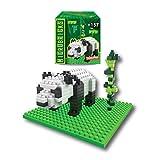 Microbricks - Panda de Deluxebase. Puzzle de los Osos con Mini Bloques. Temática Animal. Rompecabezas 3D fácil de Usar para niños y niñas