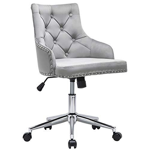 Grey Cute Tufted Velvet Computer Desk Chairs Swivel Adjustable Nailhead Trim Home Office Chair Executive Chair w/Soft Seat Accent Vanity Chair