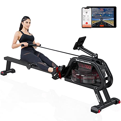 SNODE Water Rower Rowing Machine Indoor Exercise Rower with Bluetooth and Free APP, Soft Seat, Smooth Quiet Home Fitness Workout (Navy)