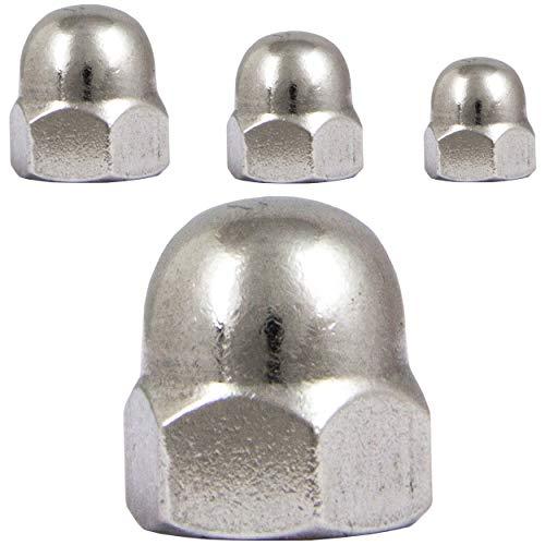 FASTON Sechskant Hutmuttern M6 hohe Form (20 Stück) Edelstahl A2 V2A Ziermuttern Sechskantmutter rostfrei DIN 1587