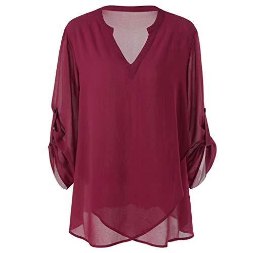 TIFIY Damen Einfarbig Bluse V-Ausschnitt verstellbare Ärmel Chiffon Einfarbig Bluse Top Shirt mehr Größe(Wein,EU-38/CN-XL)