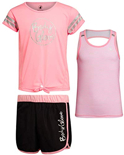 Body Glove Girls Active Short Set with Matching Tank Top and T-Shirt (3-Piece), Size 10, Pink Stripes