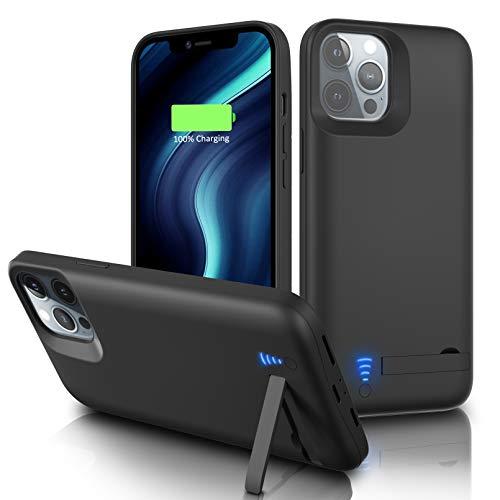 Gladgogo Cover Batteria per iPhone 12 Pro Max, (6800mAh) Cover Ricaricabile Custodia Batteria Cover Caricabatteria Battery Case con Cavalletto, [6,7 ]Carplay Supportato Power Bank Backup Charger Case