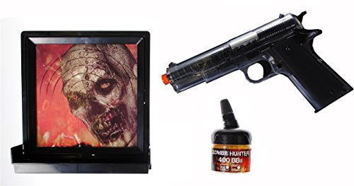 zombie hunter Target Pack with Airsoft Pistol and Accessories, Black and Clear (Black/Clear)