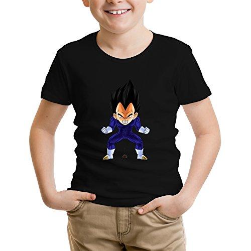 Okiwoki T-Shirt Enfant Noir Dragon Ball Z - DBZ parodique Végéta : Super Caca Vol.2 (Parodie Dragon Ball Z - DBZ)