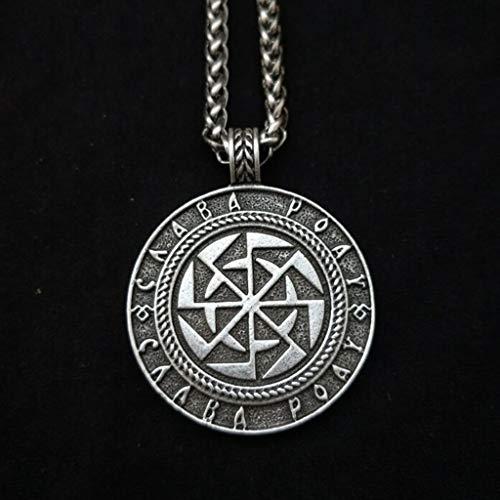 SummarLee 1 Wikinger Rune Sonnenrad Anhänger Pagan Schmuck Halskette Schmuck Amulett Herren und Damen,Silber