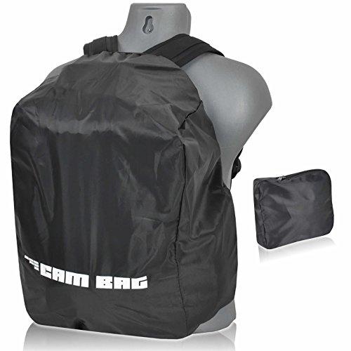 CAMBAG Regenschutz Wetter Cape Hülle ( bis 32 L Volumen passt ) für Kamerarucksack, Daypack, Schulranzen und Rucksack, mit variablen Gummizug und mit praktischer Aufbewahrungstasche