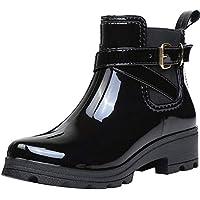 Botas de Agua Bota de Goma Mujer Impermeable lluvia Zapatos Tobillo Casual Calzado, Negro 40