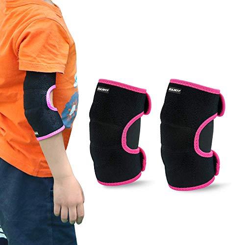 ONT Kinder Ellenbogenschützer Unterstützung Einstellbar Weiche Kinder Ellenbogenbandage Protector mit SBR Pad Guard Wraps für Radfahren Tanzen Volleyball Krabbeln Schwarz-Rose/S