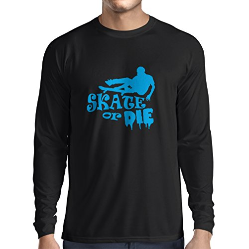 Camiseta de Manga Larga para Hombre Skate or Die - for Professional Skateboarder, Quotes by Pro Skaters, Skating Gear (XXX-Large Negro Azul)
