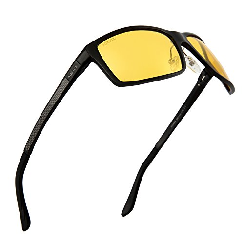 SOXICK Night Driving Glasses Anti Glare Polarized HD Night Vision Safe Glasses Light Al-Mg Frame Adjustable (Glossy Gold)