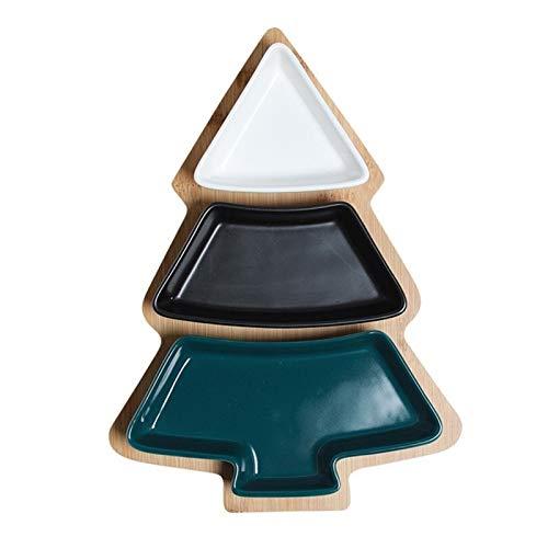Placas de árbol de navidad Platos de cerámica Bandeja de bambú Snack...