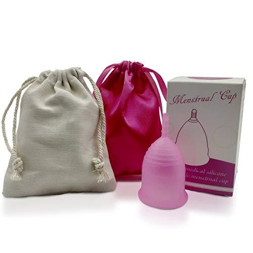 Copa Menstrual - Copa de Silicona Suave de Grado Médico - Estuche Copa Menstrual - Elección de Tallas S/L (S, Bolsa de Seda Rosa)