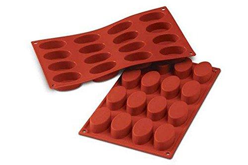 SF017 Molde de Silicona Forma Oval, 16 cavidades, Color Terracota