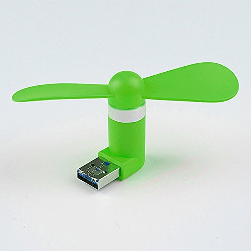 Hinmay Mini-USB-Ventilator für Mobiltelefone, 8,9 cm, bunt, modisch, tragbar, für Samsung Galaxy S5/S6/S6Edge/S6Edge Plus/S7/S7 Edge und andere Micro-USB-kompatible Mobiltelefone (grün)