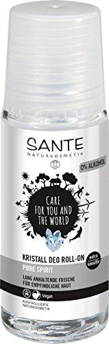 SANTE Naturkosmetik Kristall Deo Roll-on, Mindert Schweißproduktion, Mild & hautverträglich, Ohne Alkohol, Vegan, 1x50ml