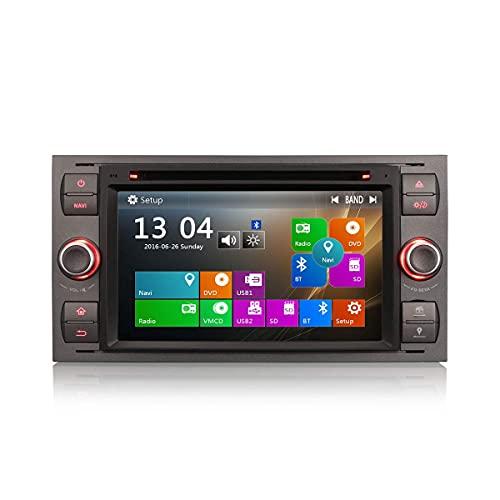 Estéreo para automóvil de 7 pulgadas para Ford C/S-Max Galaxy Kuga Focus Fiesta Transit Reproductor multimedia Navegación GPS con USB SD Reproductor de DVD para automóvil HD 1080P Pantalla táctil di