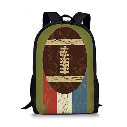 HUANIU Children's Backpack 3d Rugby Backpack Cartoon Ultra-light Student School Bag Shoulder Bag Travel Backpack Computer Bag Large Capacity F-15in * 10.7in * 4.2in