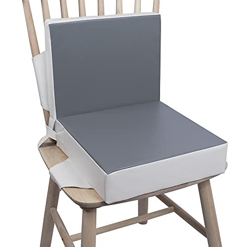 SitzerhöhungStuhlKind, Kalawen 2 Stücke Sitzkissen Kinder Baby PU Waschbar Tragbare Stuhl Sitzerhöhung mit Gurte Kindersitzkissen fur Kinder über Zwei Jahre, Grau