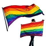 LGBT-Flagge, Gay Pride flag, 150*90cm, Indoor Outdoor diverse regenbogen flagge, Wind- und regenfeste Gay Pride Flagge mit Messingösen (LGBTQ)