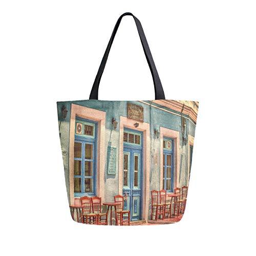 JinDoDo - Bolsa de lona retro para cafeterías, mesas de construcción, sillas, bolsa reutilizable para mujer, para ir de compras, viajes, playa, escuela