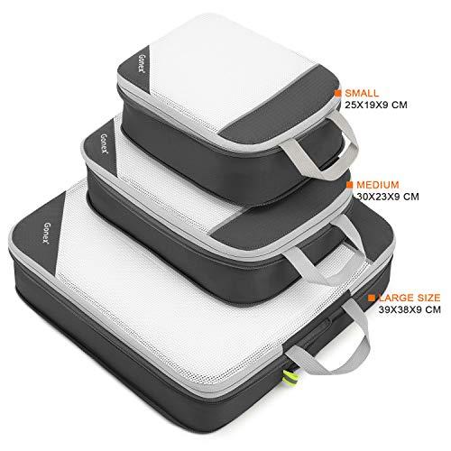 Gonexパッキングオーガナイザー撥水アレンジケース圧縮できるトラベルポーチ3点セット出張/旅行(グレー)