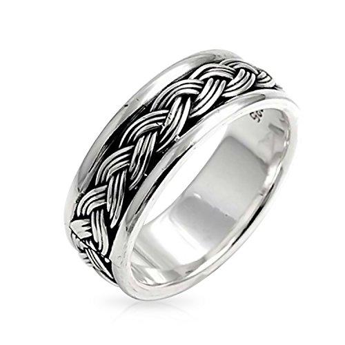 Mens trigo retorcido cuerda ancha trenza anillo de banda para las mujeres biselado borde oxidado 925 plata de ley