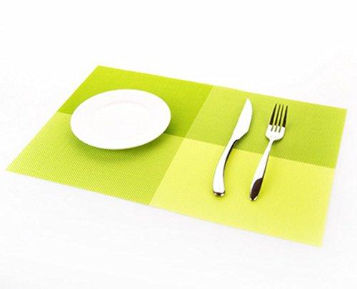 fabl Crew PVC Sets de table Grille Table Mats antidérapant résiste à la chaleur Sets de table 45 cmx30 cm Vert