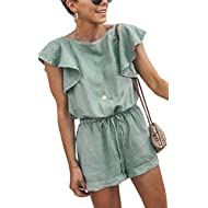 Angashion Women's Loose Casual Ruffle Cap Sleeve Short Jumpsuits Hollow Back Romper with Belt