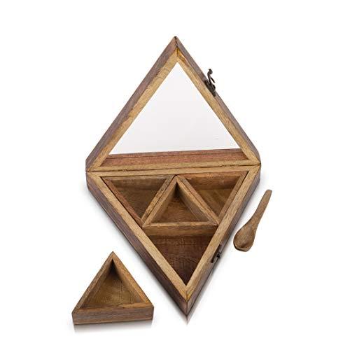 Handgemaakte houten kruiden kruiden kruiden masala doos houder rack stand Caddy voedsel veilig met lepel & duidelijk deksel decoratieve opslag kist organizer voor keuken kast lade opslag