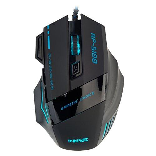 R4mpage RP-5100 6 Farbige LED-Gamingmaus, 7 Tasten, Scrollrad, Auflösung bis zu 7200 DPI