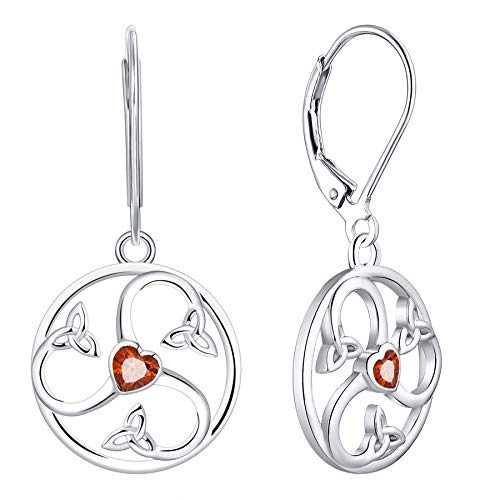 JO WISDOM Women Earrings,925 Sterling Silver Triquetra Celtic Triskele Spiral Trinity Knot Drop & Dangle Earrings with Heart Cut 3A Cubic Zirconia January Birthstone Garnet Color