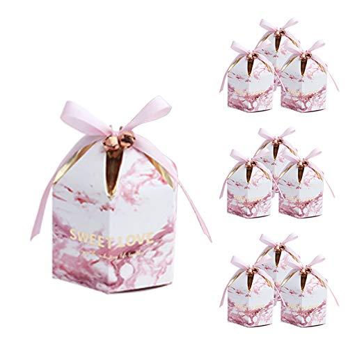 Lumanuby. 10x Rosa Marmor Mongolisches Zelt Geschenkschachtel Papier mit Ribbon, Sweet Love' Candy-Boxen für Süßigkeiten Bonbons Schokolade für Hochzeit Verlobung Baby Show, Geburtstags 7x7x9.5cm
