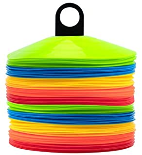 [ 100 Pack ] Disc Cones Agility Soccer Cones with Holder for Training, Football, Kids, Sports, Field Cone Markers,Soccer d...